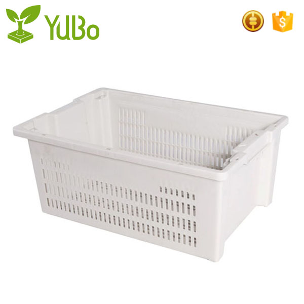 600*400mm Perforated Side and Base Plastic Crates, plstic containers with lid folding crate supplier