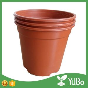 13.7cm Edge Curl Red Plastic Garden Flower Plant Pot, Flower planter