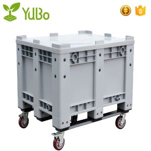 1200*1000mm 100% Virgin HDPE Solid Plastic Pallet Bin With Wheels manufacture