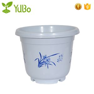 Blue and White Painted Plastic Little Plant Flower Pots With Holes factory