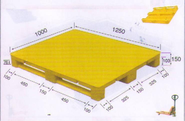 Flat Top Yellow Customizable Plastic Pallet