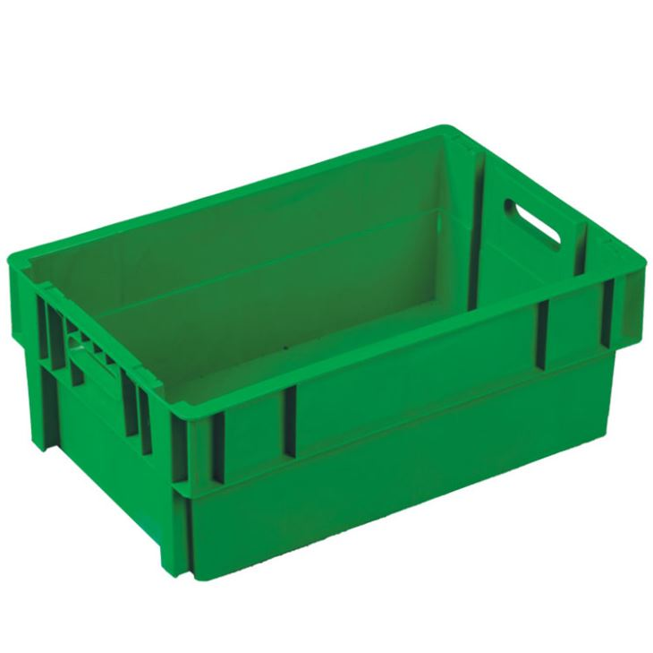 600*400mm Solid Side and Base Plastic Crates, small plastic fruit containers, foldable pallet box supplier