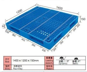 1400*1200mm Double Face Vented Top Plastic Pallets supplier