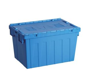 600*400*315mm Attached Lid Plastic Turnover Boxes, plastic storage box with lid supplier