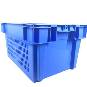 600*400mm Persoraed Side Solid Base Plastic Crates, foldable logistic custom box supplier