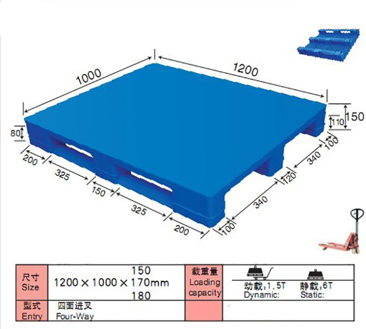 1200*1000mm Flat Top Steel Tubes Reinforced Euro Plastic Pallet dimensions calculator standard factory